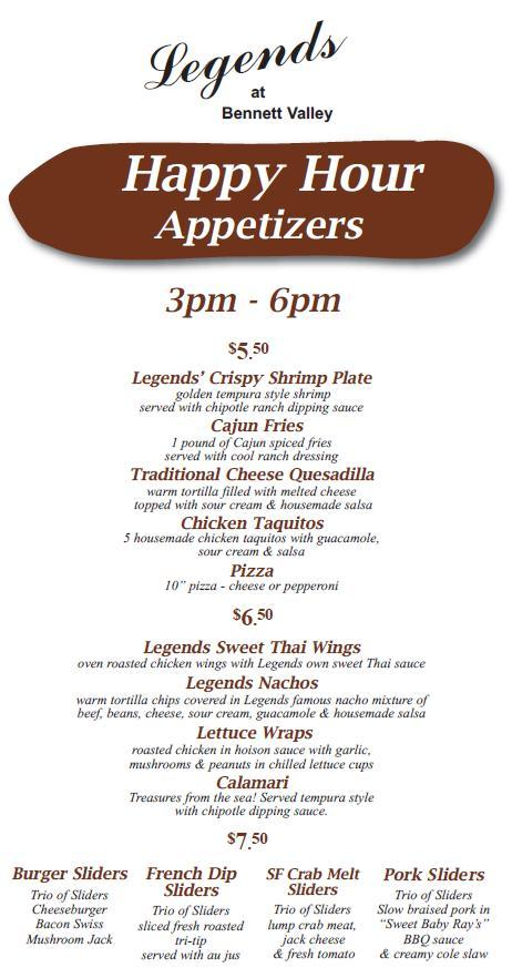 Legends Bennett Valley Happy Hour Menu Santa Rosa Ca.